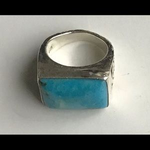 Vintage Lois Hill Ring .925 Stamp Turquoise Stone